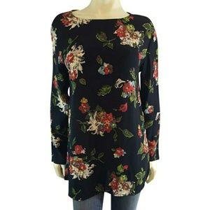 Carole Little 4 Floral Blouse Top Rayon
